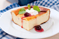 Cottage cheese casserole on white plate Royalty Free Stock Photo