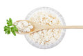Cottage cheese crystal plate Stock Photography