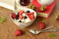 Cottage cheese with fresh berries for healthy breakfast Stock Images