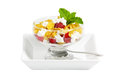 Cottage Cheese Fruit Bowl Stock Photo