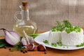 Cottage cheese with greens Stock Photos