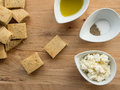 Cottage cheese homemade with olive oil and salt and pepper Royalty Free Stock Photography