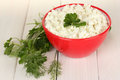 Cottage cheese with parsley and dill Royalty Free Stock Image