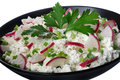 Cottage cheese with radish Royalty Free Stock Image