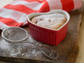 Cottage cheese souffle in baking form selective focus Stock Photo
