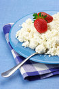 Cottage cheese with strawberries Stock Image