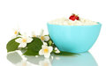 Cottage cheese with strawberry Stock Images