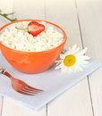 Cottage cheese with strawberry Royalty Free Stock Photos