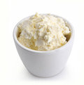 Cottage cheese in a white bowl Royalty Free Stock Photo