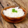 Cottage cheese on wooden board Stock Images