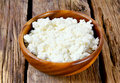 Cottage cheese on wooden board Royalty Free Stock Photography