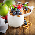 Cottage cheese and yogurt parfait with granola Royalty Free Stock Photo