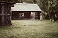 Cottage in the countryside view near forest Royalty Free Stock Photography