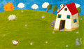 Cottage house acrylic lilustration of Royalty Free Stock Photography