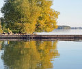 Cottage life swimming dock on a peaceful lake Royalty Free Stock Image