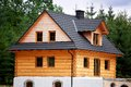 Cottage near forest empty wooden house during construction architecture and technology Royalty Free Stock Images