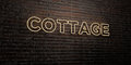 COTTAGE -Realistic Neon Sign on Brick Wall background - 3D rendered royalty free stock image
