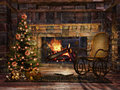 Cottage room with a christmas tree fireplace and rocking chair Royalty Free Stock Images