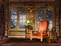 Cottage room with garlands colorful christmas Royalty Free Stock Photo