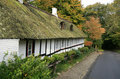 Cottage with Thatched Roof Stock Photography