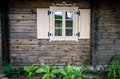 Cottage window wooden of old Royalty Free Stock Images