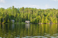 Cottages on ontario lake lonely wooden a northern canada Royalty Free Stock Images