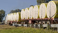 Cotton bales on a road train in queensland australia Royalty Free Stock Photo