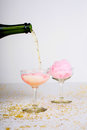 Cotton Candy Champagne Cocktail Royalty Free Stock Photo