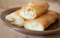 Cotton cheese pie pies on a plate with shallow depth of field Royalty Free Stock Photo