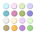 Cotton fabric buttons a set of web with close up of in various colors Royalty Free Stock Image