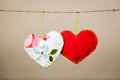 Cotton fabric hearts Stock Image