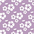 Cotton flower Seamless pattern. Flat style on cute lilac background. Vector illustration.