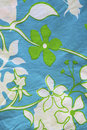 Cotton material with leaf and flower patterns. Royalty Free Stock Image