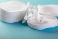 Cotton pads and sticks Royalty Free Stock Photo