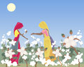 Cotton picking an illustration of two traditionally dressed women laborers in india in a field under a hot sun and blue sky Royalty Free Stock Image