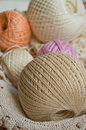 Cotton skeins pastel in a basket closeup Royalty Free Stock Photography