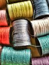 Cotton spools close view of Royalty Free Stock Photo