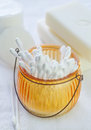 Cotton sticks in glass bowl Royalty Free Stock Photo