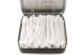 Cotton sticks in open metal box Royalty Free Stock Photo
