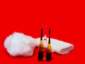 Cotton wool and ampoules on a red background Royalty Free Stock Images