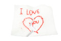 Cotton wool writing in i love you Royalty Free Stock Photography