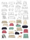 Couch big set. Vecthand drawn illustration. Interiors projects.