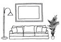 Couch and blank picture frame, vector mock-up Royalty Free Stock Photo