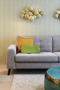 Couch detail in modern house with wall papper Royalty Free Stock Photo