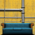 Couch In Front of Pipework Stock Photo