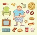 Couch potato cartoon. Vector illustration Royalty Free Stock Photo