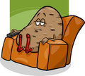 Couch potato saying cartoon humor concept illustration of or proverb Stock Photos