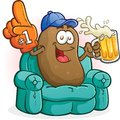 Couch potato sports fan cartoon character a happy sitting on a with a big foam finger baseball cap and a tall cold beer watching Royalty Free Stock Photos