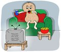 Couch potato vector illustration of a watching tv Stock Photography