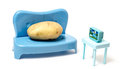 Couch potato watching tv on the sports Royalty Free Stock Images